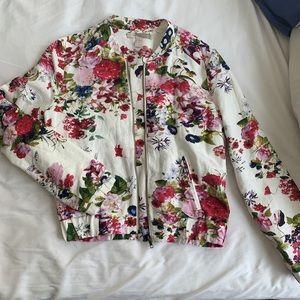 F21 floral bomber jacket. Sz small